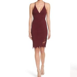 ASTR lace bodycon dress M burgundy